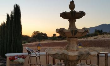 Outdoor patio sunset